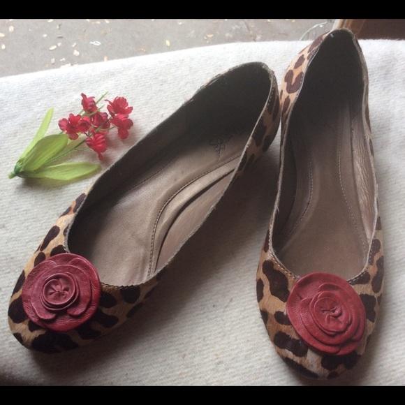 Brazilian Shoes - Brazilian Leather Fur Leopard Red Print Flats 8M